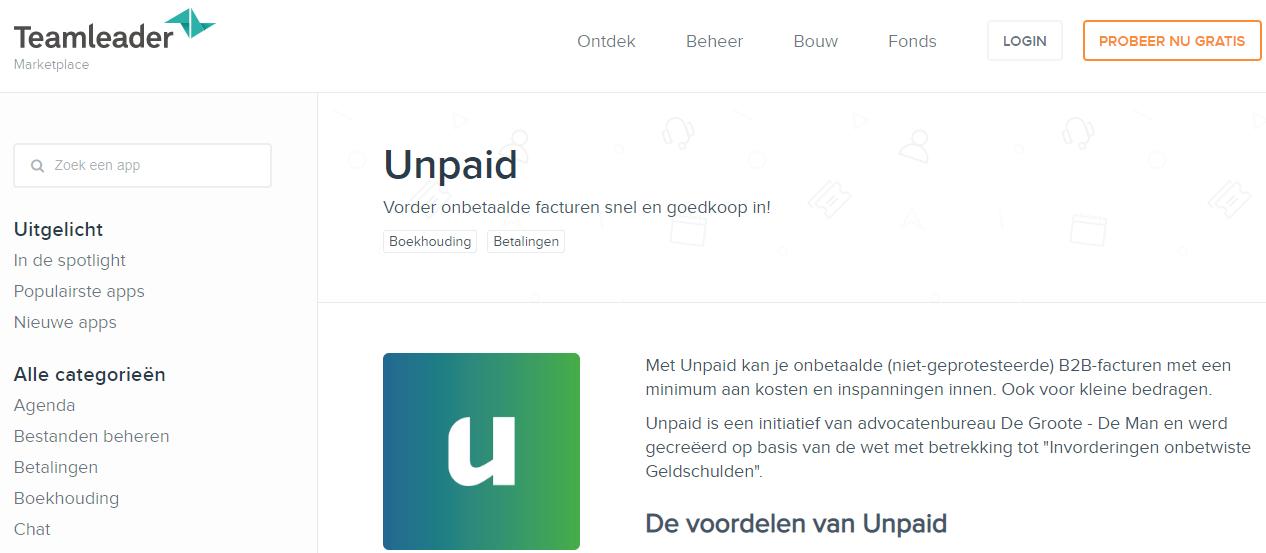 Teamleader Unpaid marketplace